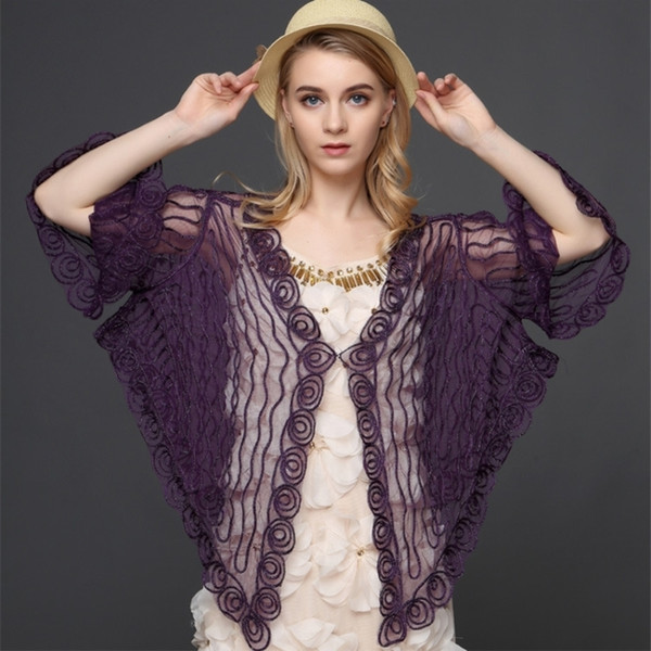 Vintage Gatsby Women's Lace Cardigan Big Size Flare Sleeve V Neck Thin Sheer Embroidery Mesh Striped Poncho Coat Spring