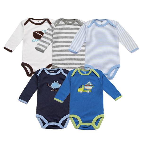 Paquetes Para Bebes Recien Nacidos.Compre Unisex Mamelucos Para Bebes 5 Paquetes De Algodon Full Infant Jumpsuit Mono De Primavera O Cuello Overoles Ropa De Dibujos Animados Del Bebe