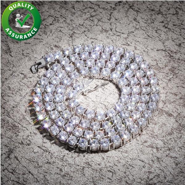 Cadenas de 5 mm hacia fuera helado de lujo 925 Hip Hop collar diseñador de la joyería del diamante de Bling Tenis Cuban Link Cadena de rap de Hiphop Moda