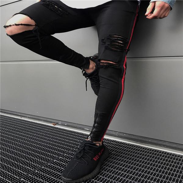 Männer Kleidung 2019 HIP HOP Jogginghose Skinny Motorrad Denim Punk Hosen Reißverschluss Designer Schwarze Jeans Herren Casual Hosen