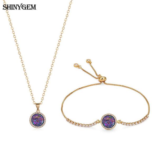 ShinyGem Fashion Rainbow Druzy Crystal Bracelet Necklace Jewelry Set Sparkling Mineral Crystal Gems Party Jewelry Sets For Women