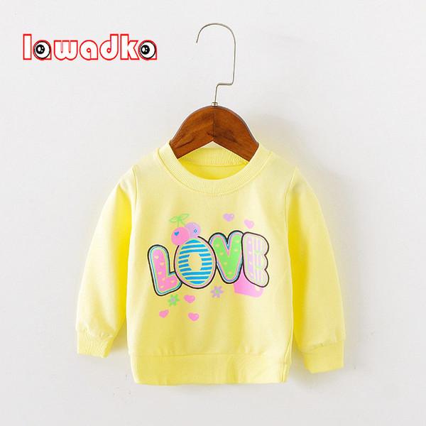 Lawadka Marca Amor Padrão manga comprida Tops outono Roupa do bebé das meninas capuz camisas Baby T para babys Meninas
