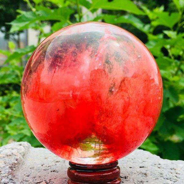 Clear Red Melting Stone Crystal Ball quartz Sphere Specimen Reiki+Stand