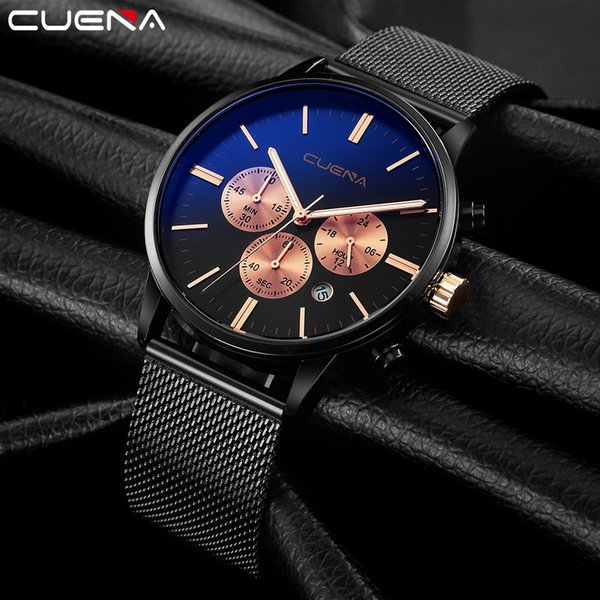 2019 date men watch multifunctional luxury quartz thin stainless steel watches casual business wristwatches relogio masculino, Slivery;brown