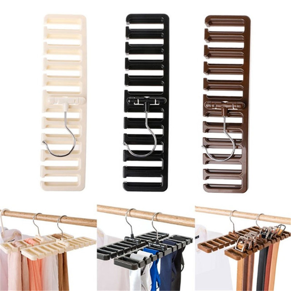 Storage Rack Tie Belt Scarf Rack Organizer Closet Wardrobe Space Saver Tops Bra Rotating Hanger Holder with Metal Hook 10 grid