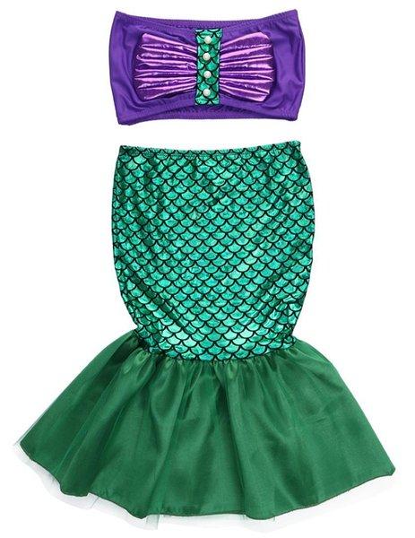 Compre La Sirenita Cola Princesa Ariel Vestido Cosplay Disfraz Niños Para Niña Elegante Vestido Verde A 3847 Del Localking Dhgatecom