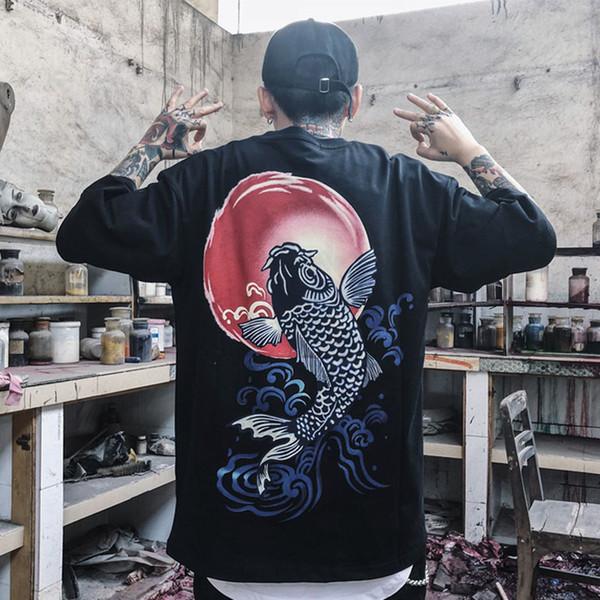 Estilo japonés Ukiyoe Hombres Camiseta Imprimir Wave Carp Carp Fish Verano de Alta Calidad Camiseta Tops Tees Tamaño S-xl C19022301