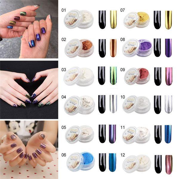 Nagellack Glitter Nail Art Flash Staub glänzend Chrom Pulver Metall Nail Art Deco Pigment 12 Farbe SZ299
