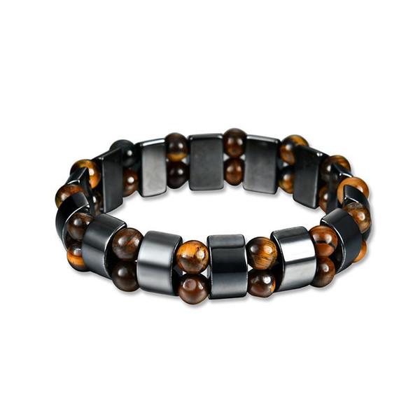 Tiger Eye Hematite Stone Beads Bracelet Couple Bangle Handmade Vintage DIY Jewelry Strand Charm Bracelets for Men Women