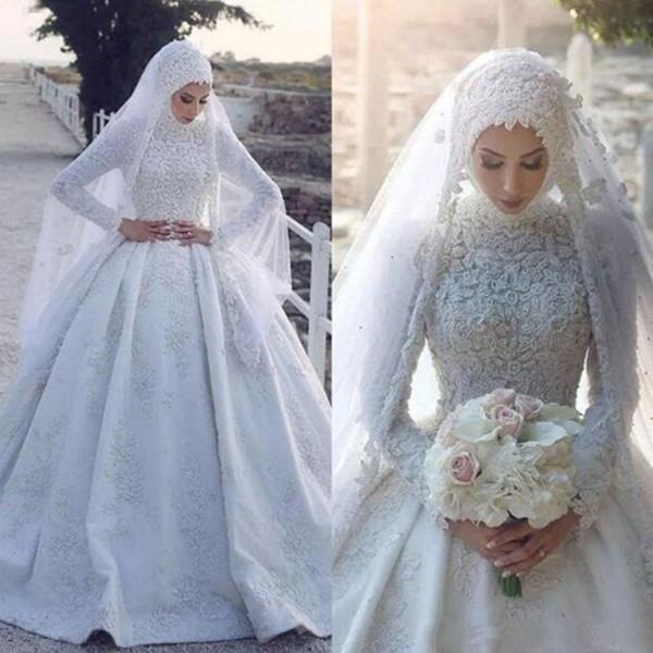 2020 Müslüman Balo Yeni Yüksek Boyun Müslüman Gelinlik Uzun Kollu Dantel Saten Gelin Gelinlikler Gelin Modelleri Vestido De Novia