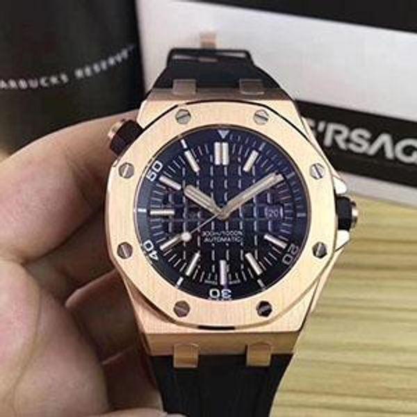 Relojes de mayor venta Hombres Dial Negro Banda de goma Oro Acero inoxidable Mecánico automático Hombres Relojes para hombre Relojes