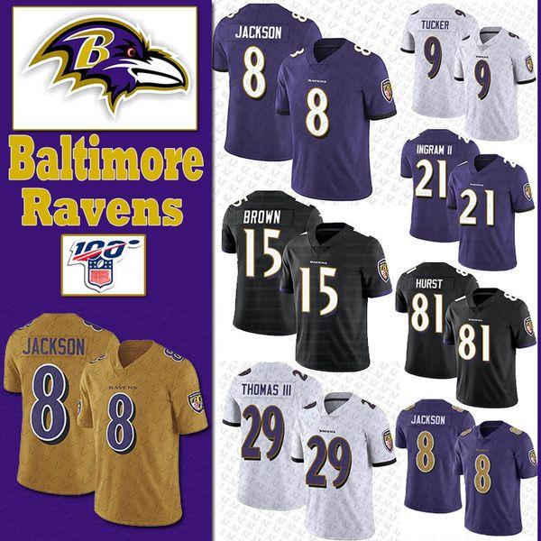 8 Lamar Jackson Baltimores Jersey Corvo 15 Marquise Brown 29 Earl Thomas III 9 Justin Tucker 21 Mark Ingram vai 81 Hurst Football Jerseys HOT