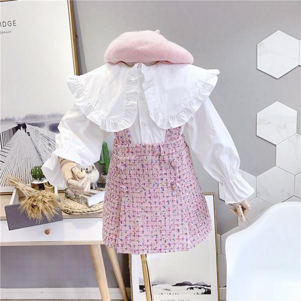 Automne 2019 New Arrival Fashion Girls 2 Pieces Costume Top + Jupe plaid enfants Vêtements fille Set V191203