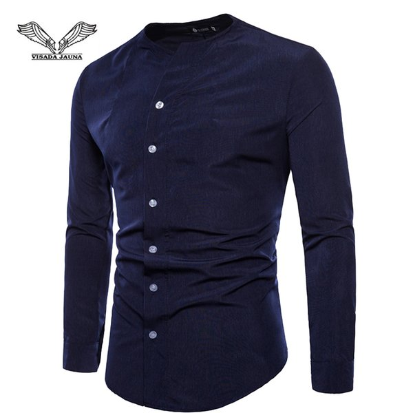 VISADA JAUNA European And American Men's Slim Long-Sleeved Shirt Solid Color Slim Large Size Bottoming Shirt Size M-2XL TLH80