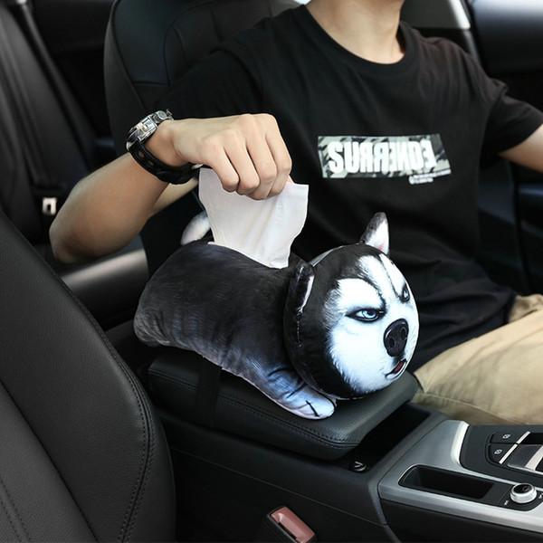Car Tissue Box Car Accessories Cute Cartoon Plush Tissue Holder Box Cover Home Decor Paper Towel Holder dropship CA