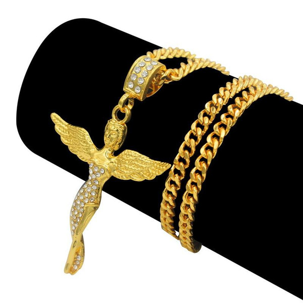 New Hip hop 18k gold plated Crystal Angel Pendant Necklace Nice Design Hip hop Wing angle Necklace Jewelry