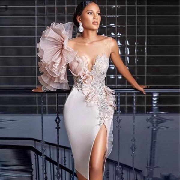 2020 Arapça Yan Bölünmüş Abiye Dantel Aplike Boncuk Şeffaf Mücevher Boyun Diz Boyu Gelinlik Modelleri Örgün Parti Gowns Kokteyl Giyim