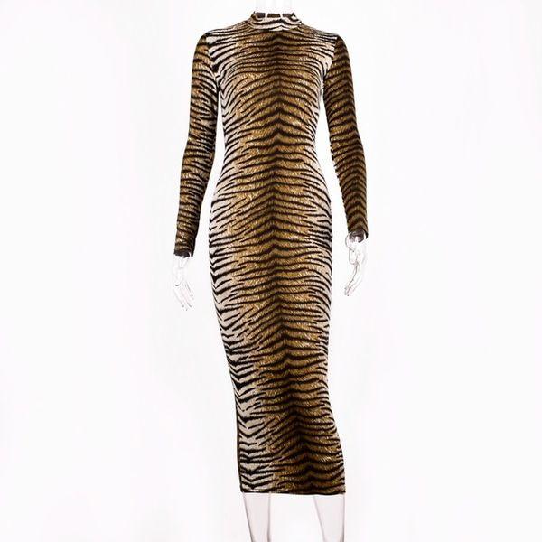 leopard long dress A