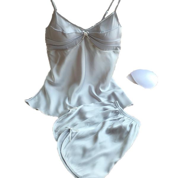2018 Yaz Tarzı Pijama Setleri Kadın Kadın Uyku Set kadın Derin V Yaka Seksi Spagetti Kayışı Şort Pijama Ipek Gecelik