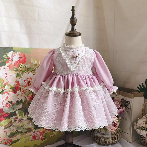 İNGILTERE İspanya stil yeni Kız giyim Uzun Kollu kız Elbise Mor Pembe dantel Boncuk Çiçek Elbise Bahar sonbahar Pet Pan Yaka Giyim Elbise