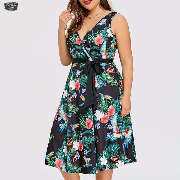 Tamanho Midi Casual Vestidos Além disso Boho Mulheres vestido Partido Pescoço V elegante cercado Vestidos Vintage Robe Vestido 5XL roupas de grife