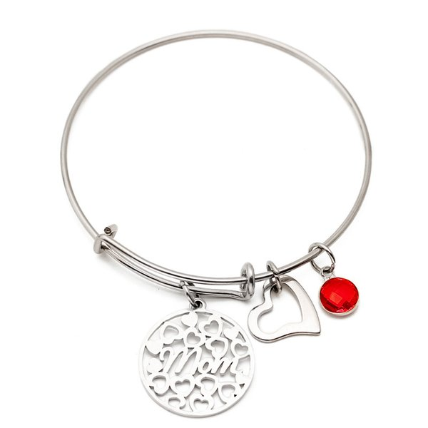 Hot Sale Mom 12 Birthstone Charm Bracelet Jewelry Expandable Stainless Steel Wire Heart Bangles Christmas Gift for Mother's Day