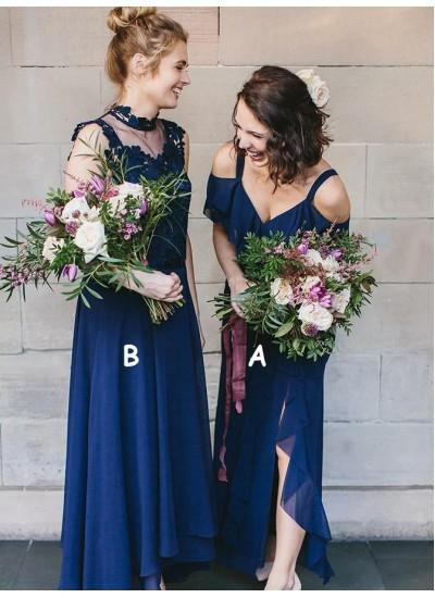 Fashion Boho dark navy country bridesmaid dresses high neck mismatched chiffon cheap junior maid of honor dresses sexy backless prom dress