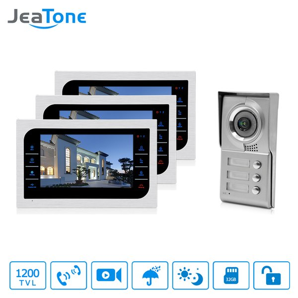 "JeaTone Home Security Video Intercom System 10"" LCD Video Door Phone Touch Key Panel IR Home Video Doorbell For 3-Apartments"