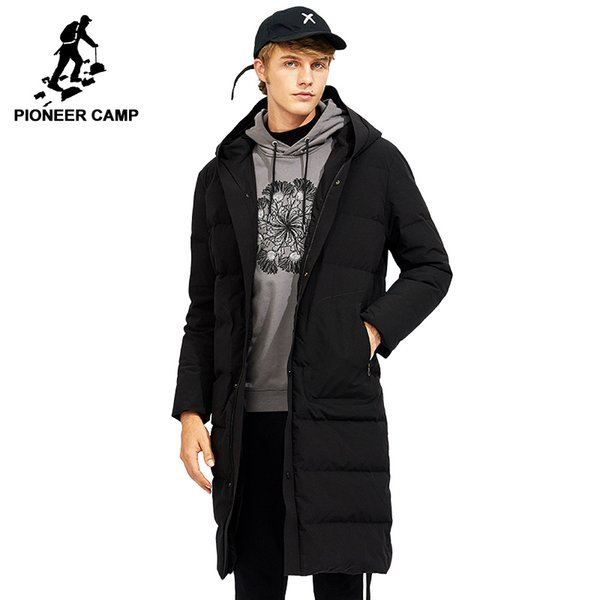 Pioneer Camp 2018 arrival long thicken down jacket men brand-clothing solid hooded warm 80% white duck down coat boy AYR705305