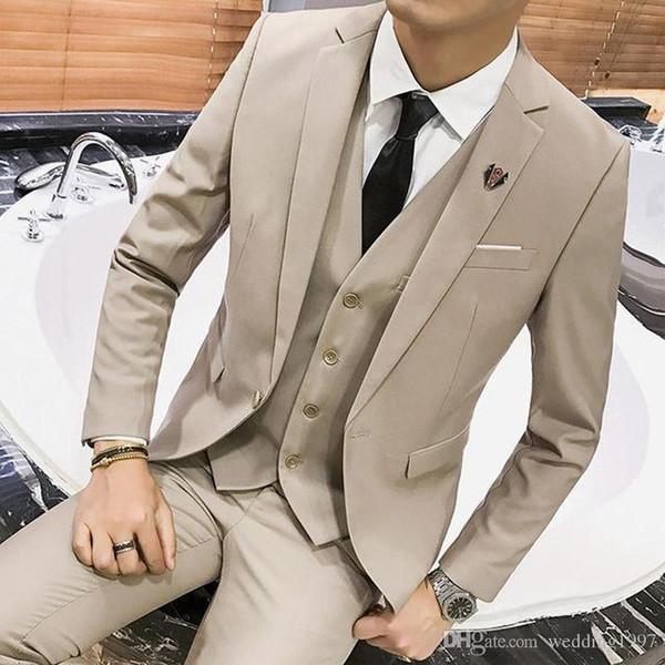 Khaki Man's Suits for Wedding Party Costume Three Piece Groom Tuxedos Jacket Pans Vest Notched Lapel Blazer Waistcoat