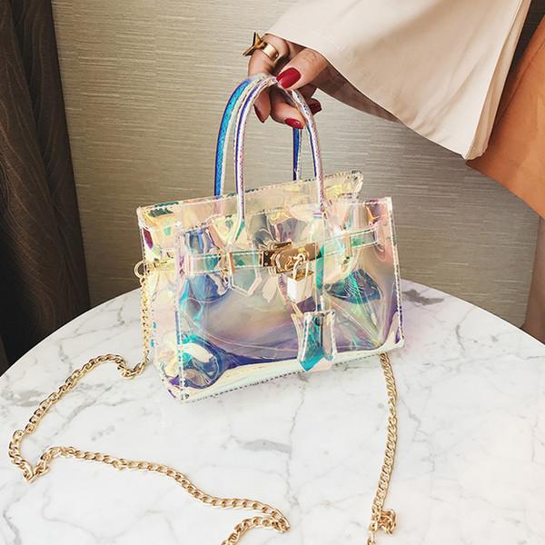 2019 best Clear Transparent Women Single Shoulder Bag Laser Lock Women Messenger Bag Pvc Jelly Small Mini Girls Crossbody Bags Lady Bolda