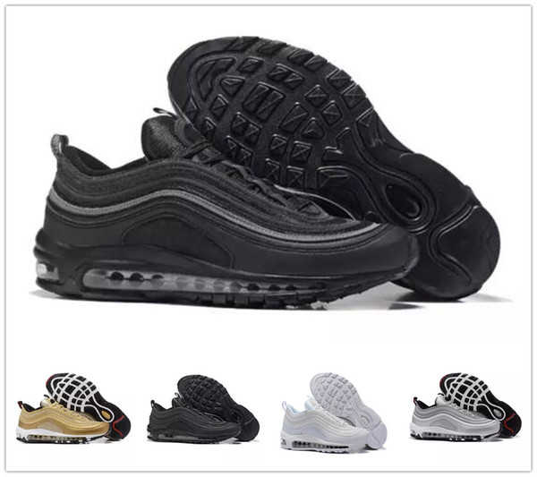 Compre 2019 Nike Air Max 97 Sean Airmax Con Caja Zapatillas Para Correr S OG Gold Silver Bullet Triple White Black Mens Womens Trainer Sports Sneakers