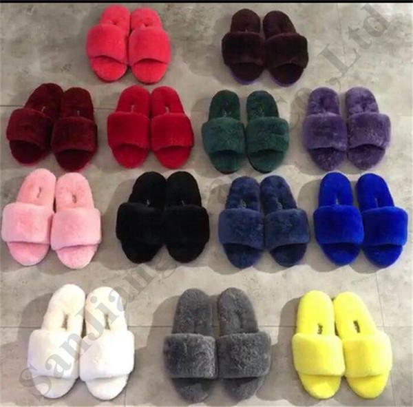 Kadın Kürk Slaytlar Avustralya UG Koyun Wools Terlik Slayt Sandalet Tasarımcı Moda Ev Sıcak Ayakkabı Lüks Kürklü Slaytlar Terlik C72906