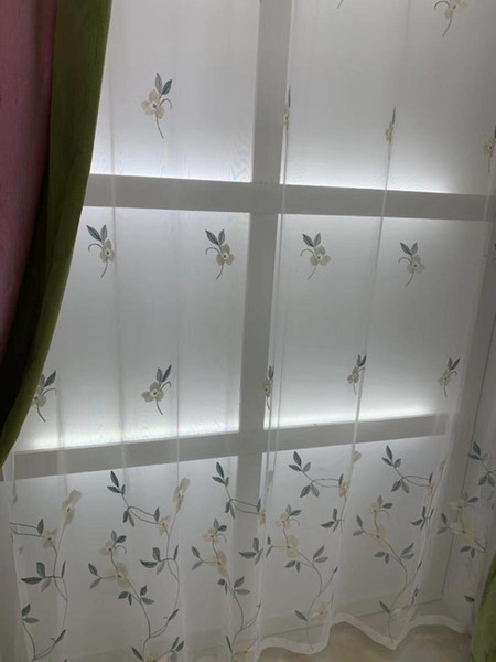 White Floral Tulle Curtains Modern Curtains for Living Room Transparent Tulle Window Drapes Sheer for the Bedroom