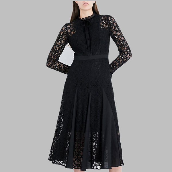 2019 Новое прибытие взлетно-посадочной полосы черный синий Белое платье женщин с длинным рукавом Кружева Лоскутная Mid-теленок Chic платье
