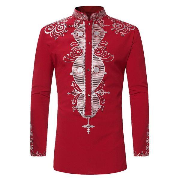 Mens Hipster African Print Dashiki Dress Shirt 2019 Brand New Ethnic Shirts Men Long Sleeve Shirts Africa Clothing Camisa
