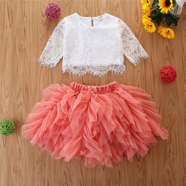 Bebek Çocuk Bebek Kız Giyim Yuvarlak Yaka Uzun Kollu Kazak T-shirt Dantel Tül Katı Tutu Etek 2pc Pamuk Güzel Kıyafetler