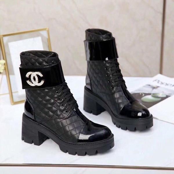 Cuir Femme bottillons 2019 automne et chaussures d'hiver en coton épais avec talon haut Bottes plus Velvet Europe Femmes et Amérique du vent