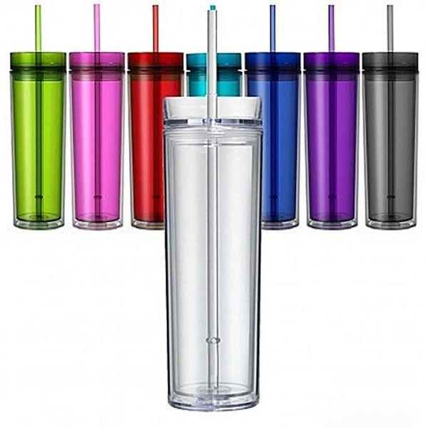 Bicchiere Acrilico Skinny 480ml Doppia parete Tazza trasparente in plastica con coperchio e paglia BPA Borraccia dritta multi colore