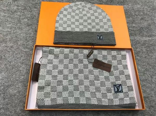 Top Quality Celebrity Design Letter Printing Woolen Scarf Cap Set Men Woman Cashmere WoolL2LouisVuittonScarf Hat