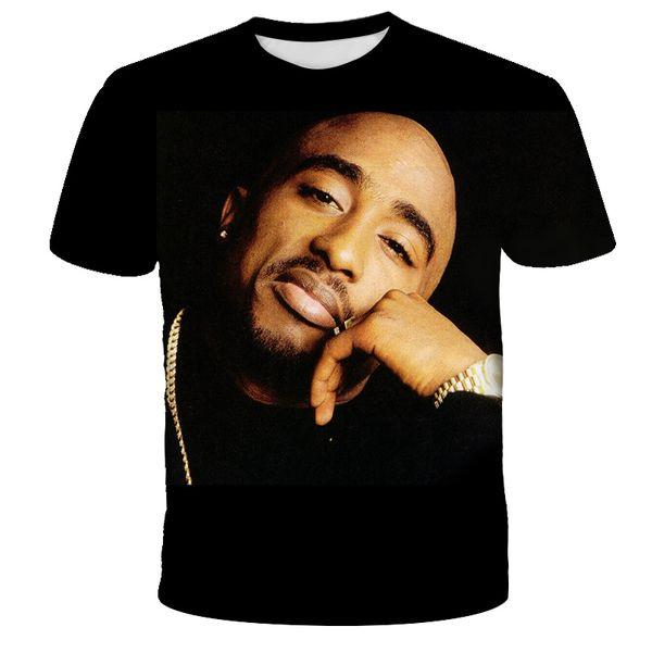 2019 Hombres Mujeres Tupac Amaru Shakur unisex rapero 2Pac Tupac nueva de la manera camiseta de impresión en 3D Hip Hop Camisetas frescas informal camiseta de los hombres Q1136