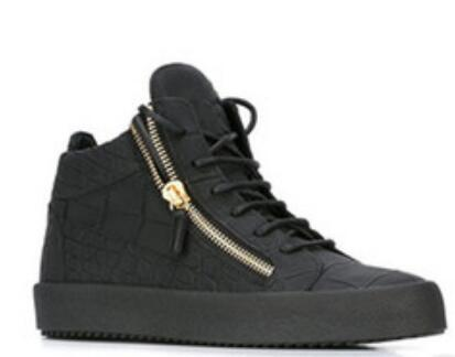 2019 Best-selling Women Men Shoes Black casual Shoes Casual Luxury Zip Ladies Leather High Top Shoe Size