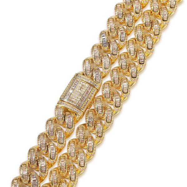 13mm Cuban Chain Link Or Couleur Argent Collier Cuivre Bracelet Glacé Rhinestone Bling Bijoux Colliers Collier ras du cou Hip hop pour les hommes
