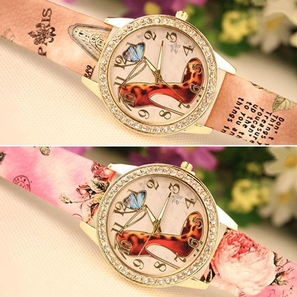 Popular Retro Design But Fashion Rhinestone High-heeled Shoe Printed Faux Leather Pretty Wrist Watch No181 5uxb 89