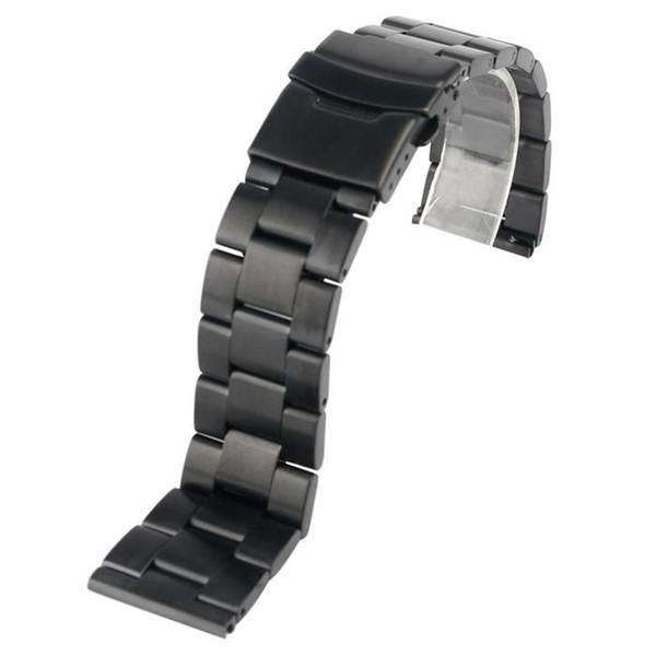 Men/'s large bande en cuir montre bracelet boucle en métal bracelet bangle noir marron