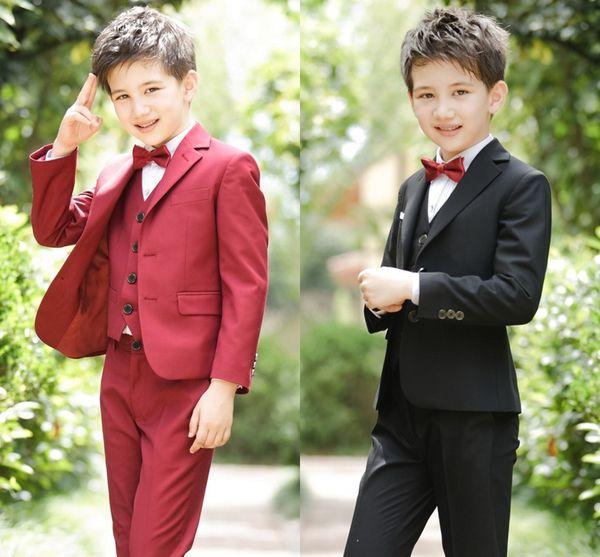Beach Children Suits For Weddings Party Suits Black Wedding Suits Kids Big Boys Formal Formal Attire Clothes (Jacket+Pants+Vest+Bow Tie)