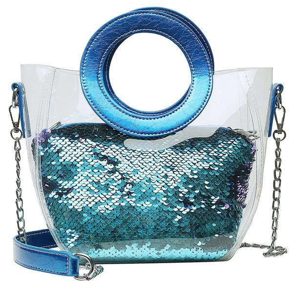 xiniu Mulheres Limpar PVC transparente dos doces da geléia da cor Bolsas lantejoulas de couro Crossbody Bag Waterproof Praia Messenger Bag # 0508