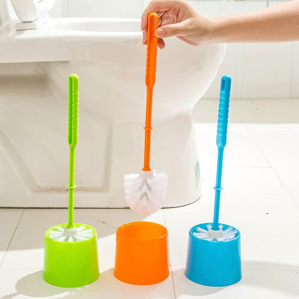 Thick Plastic Long Handle Toilet Brush Bathroom Cleaning Brush with Base