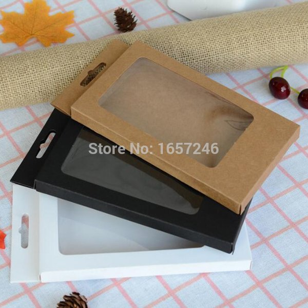 Big Size Universal Black Brown White Kraft Paper Box With PVC Window For Iphone XS Max XR 8 7 Plus 6s Case Cover Retail Display
