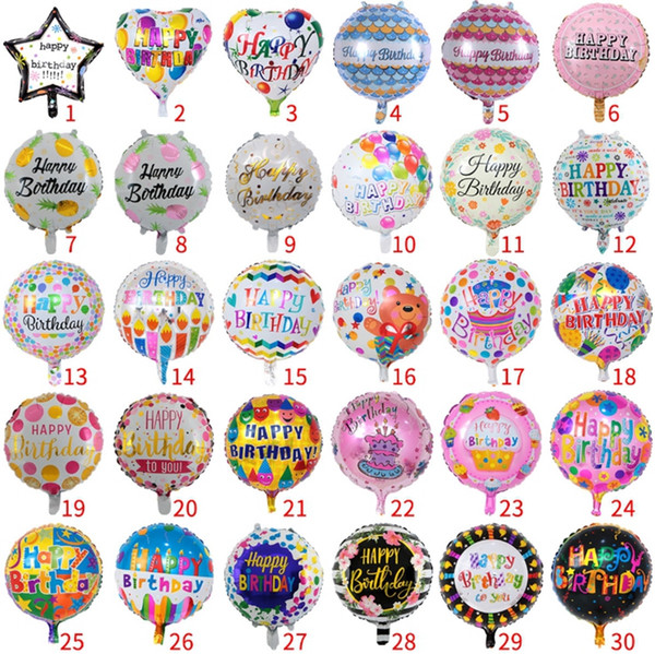 Birthday Party Ballons Aluminum film balloons inflatable happy birthday balloons Birthday kids toy supplies 30 Designs 18 Inch DHW1852